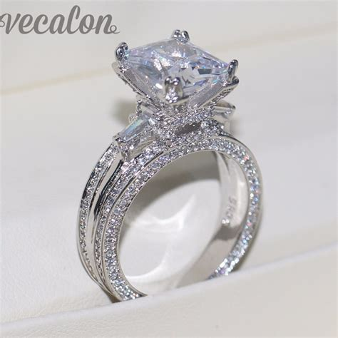 Big Engagement Rings by Vecalon Big Jewelry Ring Princess Cut 10ct Aaaaa