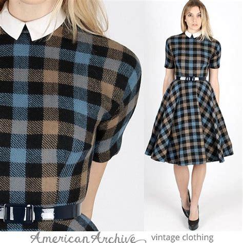 B Uniko Skirt Mr vintage 50s blue plaid skirt mr mort dress by