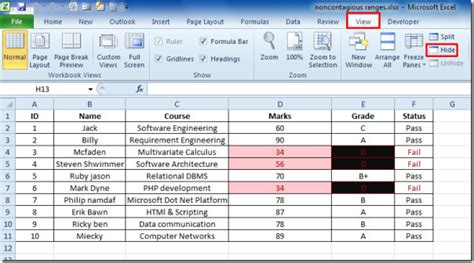 marionette layout view exle how to hide complete excel 2010 workbook