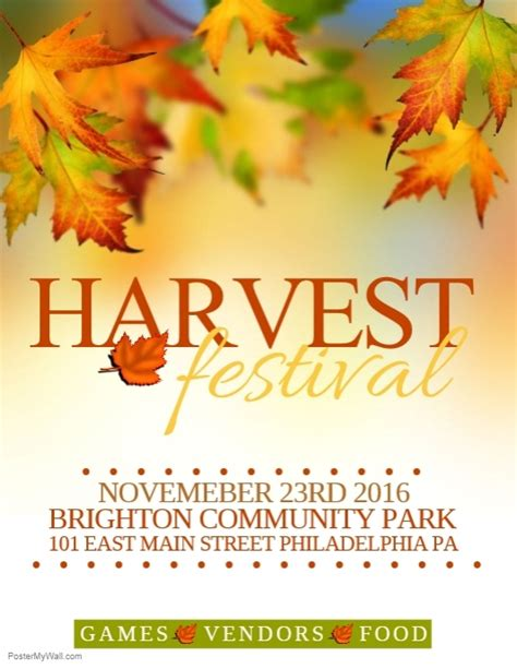 Harvest Festival Template Postermywall Harvest Festival Flyer Free Template