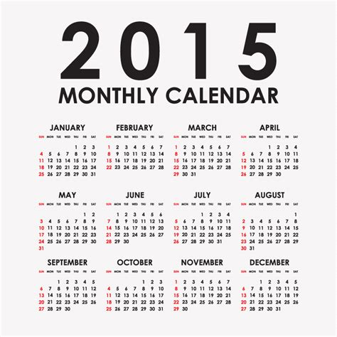 calendar design 2015 vector free download simple black calendar 2015 vector free vector graphic