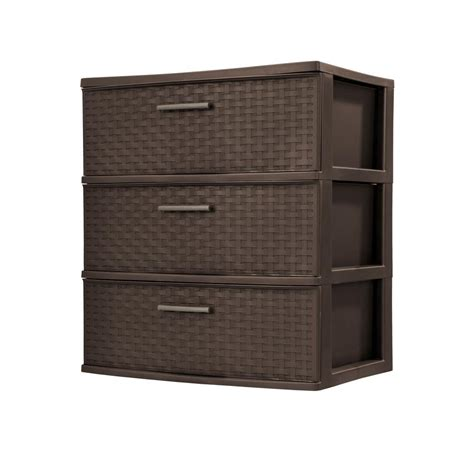 Sterilite Plastic Drawer by Sterilite 3 Drawer Plastic Wide Weave Tower In Espresso