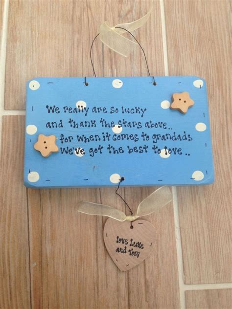 shabby personalised wooden chic plaque grandad grandpa