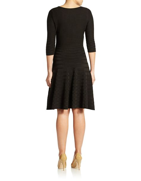 Ivanka Black Dress ivanka textured swing dress in black lyst
