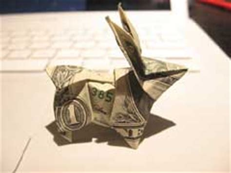 Dollar Bill Origami Rabbit - cool dollar origami financial hack