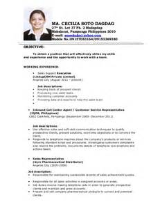 resume format 2013 sle philippines payslip cecile resume