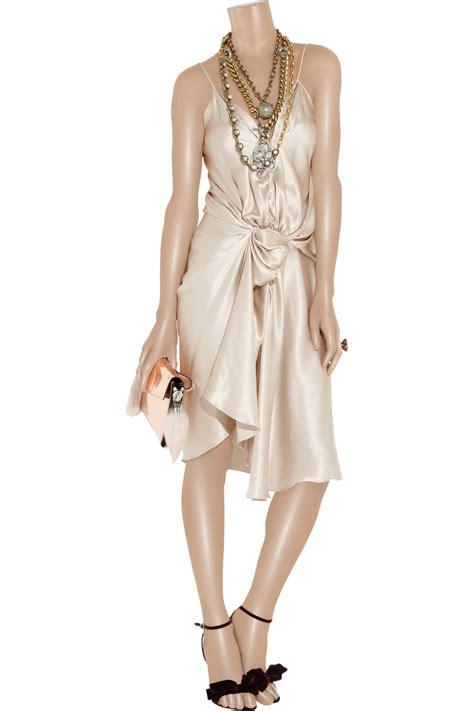 draped satin dress lyst lanvin draped silk satin dress in white