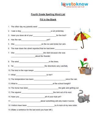 Spelling Worksheets For 4th Grade by Free Spelling Worksheet Lovetoknow