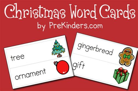 printable christmas cards word christmas picture word cards prekinders