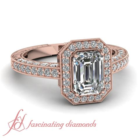 1 5 carat vintage octagon halo ring pave set with