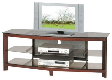 zephyr collection cherry finish wood and glass tv stand