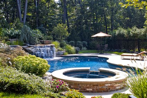 Backyard Swimming Pools Waterfalls Natural Landscaping Nj Pool Garden Design