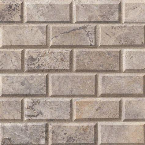 buy silver travertine 2x4 beveled brick mosaic