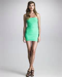 dsquared 178 ruched tube dress in green lyst