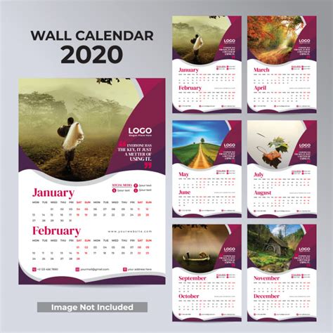 wall monthly calendar   year design ready  print premium vector