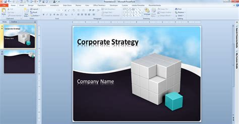 Free Business Powerpoint Template With Animated Clouds Video And 3d Cube Powerpoint Presentation Animated Powerpoint 2010 Templates Free