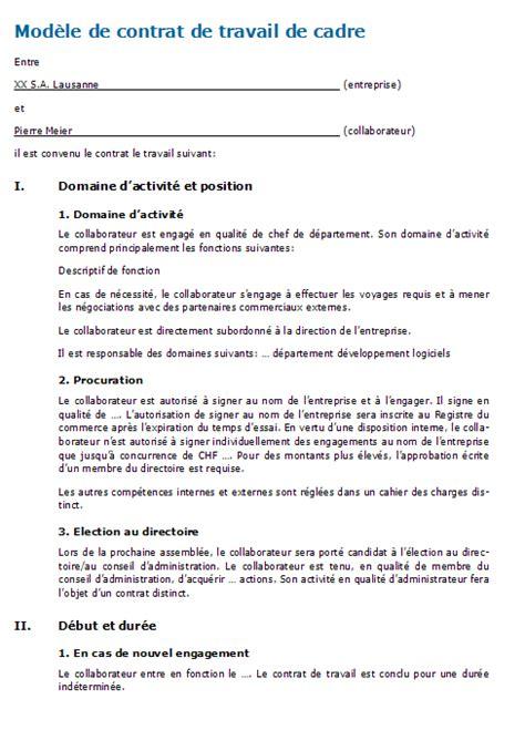 Contrat De Travail Cadre Cdi mod 232 le contrat de travail cadre mise en demeure 2018