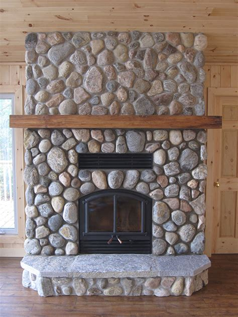 Wall Mantle by Opel Wood Burning Fireplace With River Stone Efficient