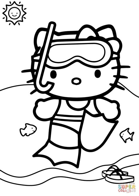 kitty swimming coloring free printable coloring pages
