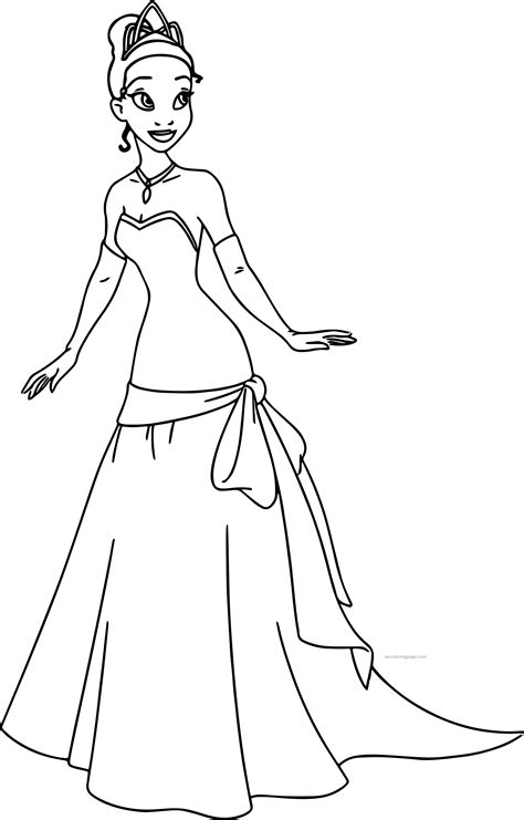 princess gown coloring pages disney the princess and the frog perfect tiana dress