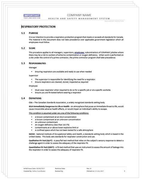 Respiratory Protection Program Template Sanitizeuv Com Sle Resume And Templates Respirator Program Template
