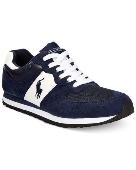 polo sneakers mens polo ralph slaton pony sneakers in blue for