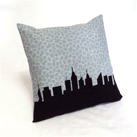 City Pillows by New York City Skyline Pillow Blue Gray Floral Print
