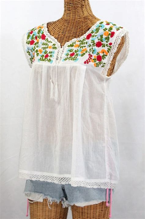 Blouse Embriodery Import 2 quot la marbrisa quot embroidered mexican sleeveless peasant blouse top white peasant blouse