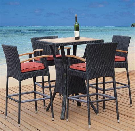 dark brown natural teak finish modern pc outdoor bar set