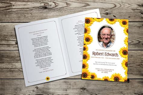 sunflowers funeral order  service