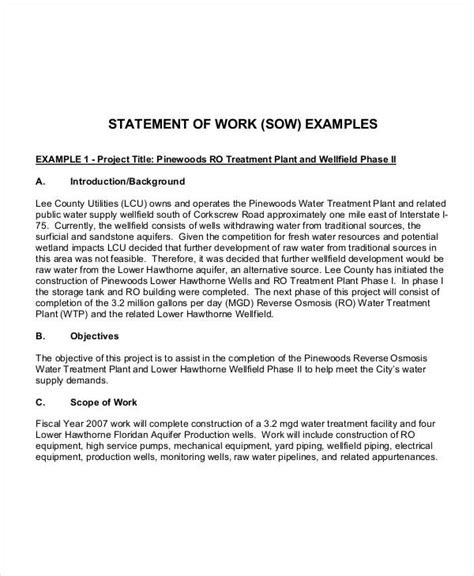 government statement of work template 9 work statement exles sles