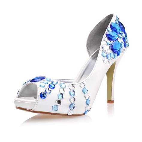 new handmade white wedding shoes peep toe blue rhinestone