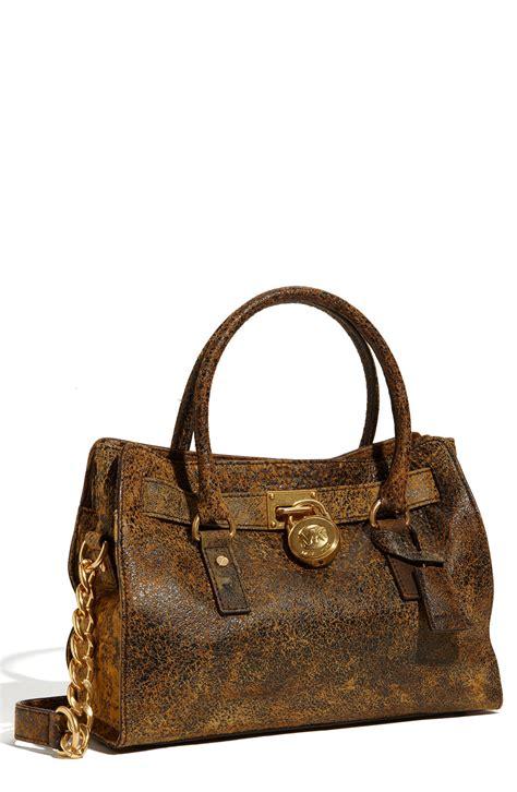 Michael Kors michael michael kors hamilton distressed satchel in brown mocha lyst