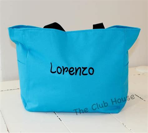 personalized day care bag  boys turquoise blue tote bag