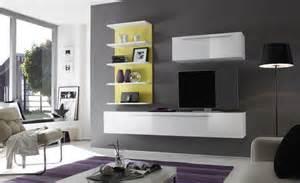 Formidable Meuble Laque Blanc Ikea #3: composition_tv_murale_design_blanc_laqu_-jaune_almovar.jpg