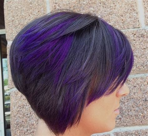 Black Stacked Bob With Purple Balayage | the full stack 20 hottest stacked haircuts