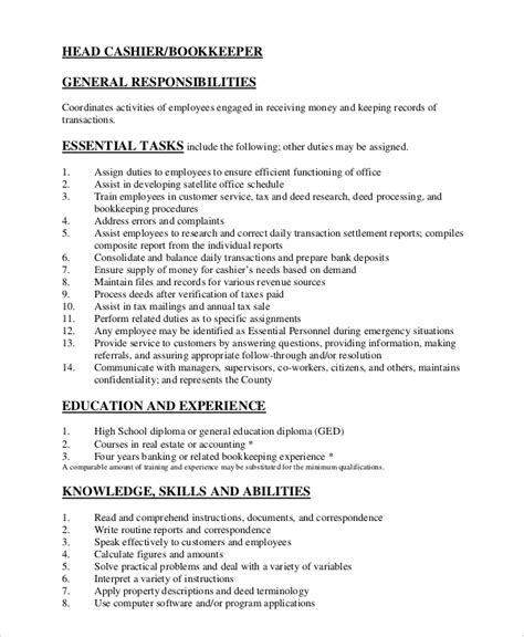 Cashier Duties Resume by 7 Sle Cashier Resumes Sle Templates