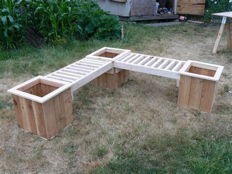 flower box bench quot l quot shaped planter box bench with planters yard