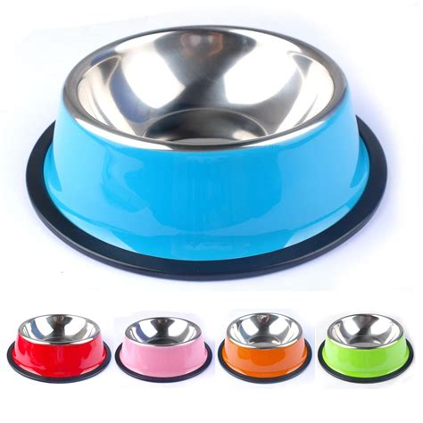 puppy feeding bowls colorful stainless steel feeding bowl cat puppy food dish pet drink water bowl non