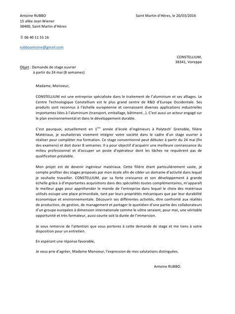 Lettre De Motivation Ouvrier De Production lettre motivation constellium pdf par marine gadet