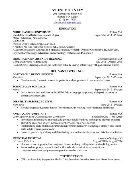 S Op Resume by Co Op Resume Clinical