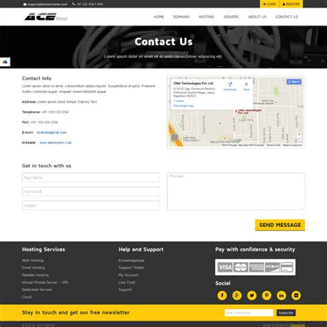 Acehost Html5 Website Template Hosting Html Template Contact Us Page Template Html