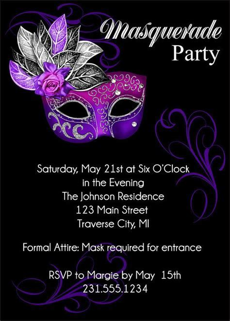 Masquerade Party Invitation   Mardi Gras Party Invitation