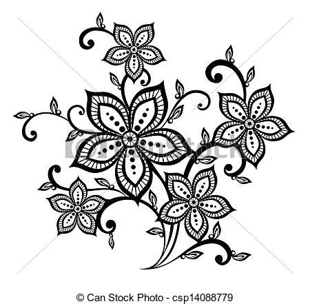 flower pattern black and white clipart vector beautiful black and white floral pattern design