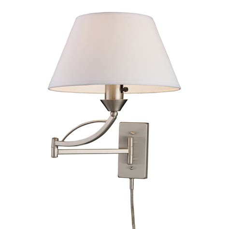 Plug In Wall Lamps For Bedroom Elysburg Swing Arm Plug In Wall Sconce By Elk Lighting