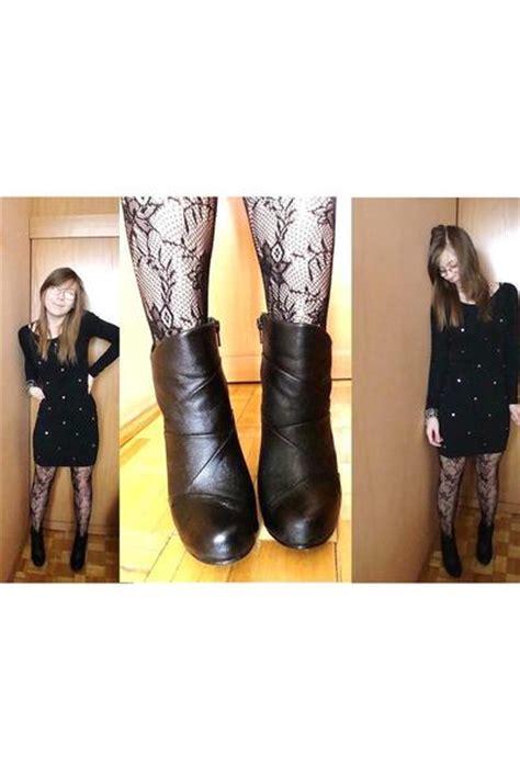 black dresses black boots black tights quot lace tights