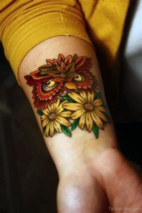 owl wrist tattoo sunflower tattoos designs pictures page 3