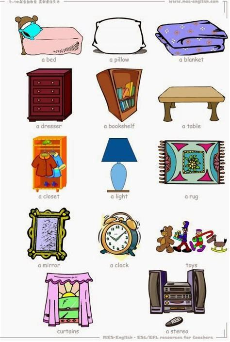 bedroom objects in spanish tuttoprof inglese 14 bedroom objects flashcard