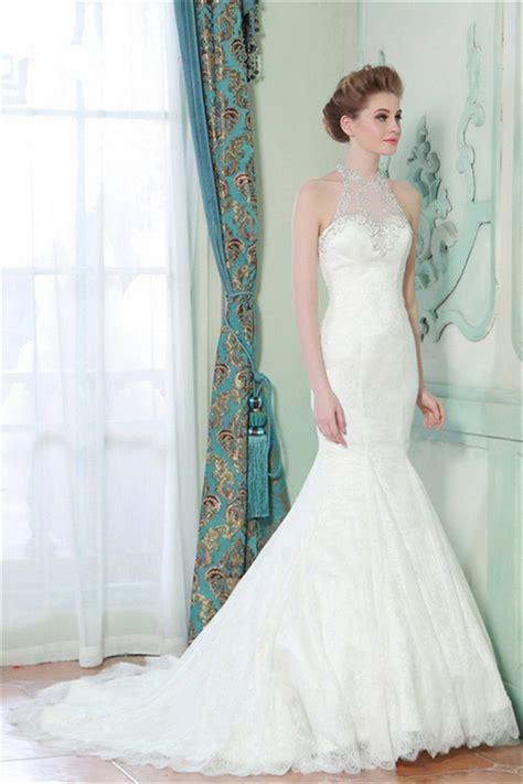 beaded back wedding dress mermaid high neck sheer back lace beaded wedding dress