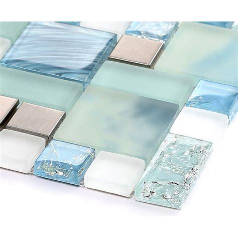 Blue Glass Mosaic Sheets Stainless Steel Backsplash Sheet Glass Backsplash